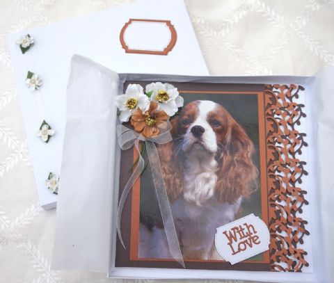 HAND MADE HAPPY BIRTHDAY KEEPSAKE CARD BOXED WITH BLENHEIM CAVALIER